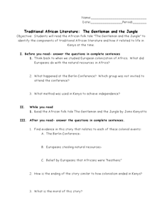 traditional african literature the gentleman and the jungle 6th 9th grade worksheet lesson. Black Bedroom Furniture Sets. Home Design Ideas