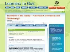 Traditions of the Family -- American Celebrations and Philanthropy Lesson Plan