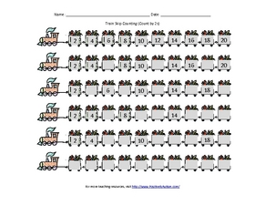 Train Skip Counting: Count by 2s Kindergarten - 6th Grade Worksheet ...