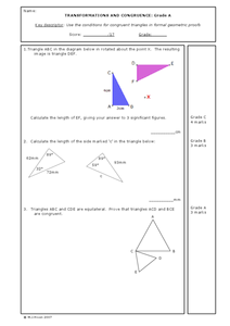 Transformations and Congruence Worksheet
