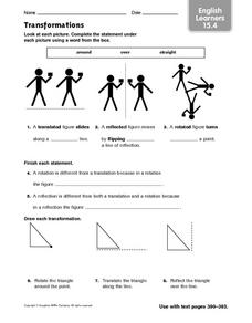 Transformations: English Learners Worksheet