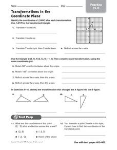Transformations in the Coordinate Plane: Practice Worksheet