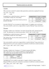 Transition Metal Ions and Redox Worksheet