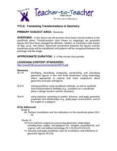 Translating Transformations in Geometry Lesson Plan