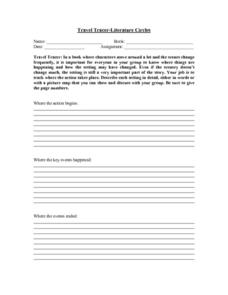 Travel-Tracer-Literature Circles Worksheet