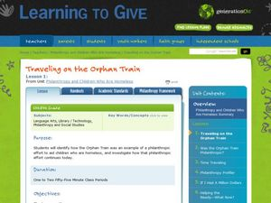 Traveling on the Orphan Train Lesson Plan