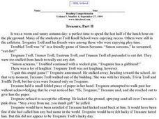 Treasure Part II- Reading Comprehension Worksheet
