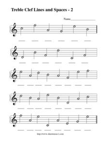 Treble Clef Lines and Spaces - 2 Worksheet