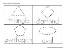 Triangle, Diamond, Pentagon, Oval (Tracing) Worksheet