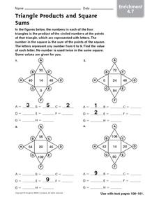 Triangle Products and Square Sums Worksheet