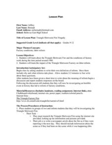 Triangle Shirtwaist Fire Tragedy Lesson Plan