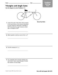 Triangles and Angle Sums - Problem Solving 14.5 Worksheet