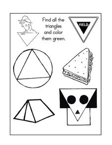 Triangles- Lower Elementary Geometry Coloring Page Worksheet