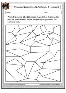 Triangles, Quadrilaterals, Pentagons and Hexagons: Color Activity Worksheet