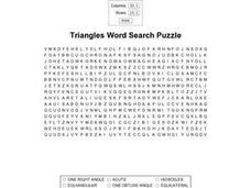 Triangles Word Search Worksheet