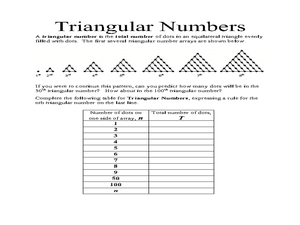 Triangular Numbers 10th Grade Worksheet | Lesson Planet