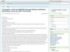Triangular Trade and Middle Passage Review Individual Worksheet Lesson Plan