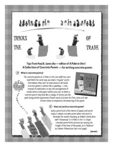 Tricks of the Trade A Collection of Concrete Poems-for writing concrete poems Lesson Plan