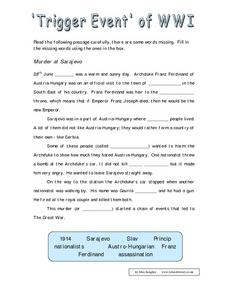 'Trigger Event' of WWI Worksheet