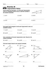 Trigonometric Ratios Worksheet