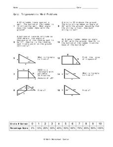 Worksheets Trig Word Problems Worksheet trigonometric word problems 10th grade worksheet lesson planet problems