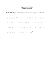 Trigonometry Function Recognizer Worksheet