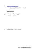 Trigonometry Worksheet: Verify Identities (2) Worksheet
