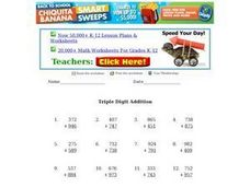 Triple Digit Addition Worksheet