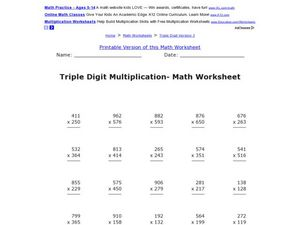 Triple Digit Multiplication- Math Worksheet Worksheet