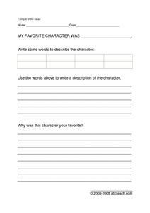 Trumpet of the Swan Character Study Worksheet