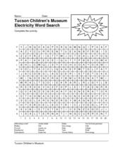 Tucson Children's Museum Electricity Word Search Lesson Plan