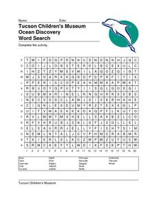 Tucson Children's Museum Ocean Discovery Word Search Worksheet