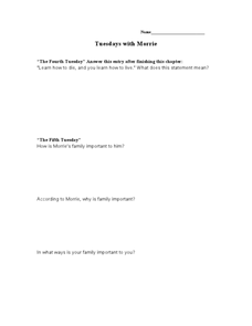 Tuesdays With Morrie Lesson Plan