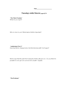 Tuesdays with Morrie pages 62-78 Lesson Plan