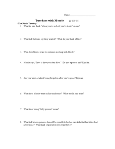 Tuesdays with Morrie pp 130-151 Lesson Plan