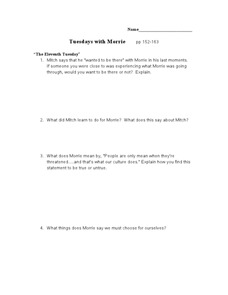 Tuesdays with Morrie pp 152-163 Lesson Plan