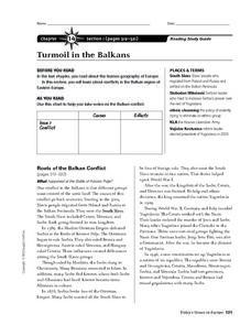 Turmoil in the Balkans Worksheet