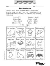 Twelve English Measurement Conversions Worksheet