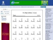 Two Digit Addition W/carryover Worksheet