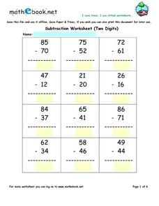 Two Digit Subtraction Worksheet - No Regrouping Worksheet