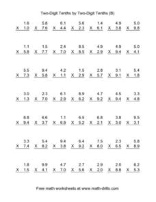 Two-Digit Tenths by Two-Digit Tenths (B) Worksheet