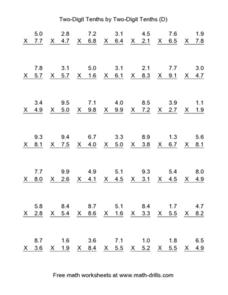Two-Digit Tenths by Two-Digit Tenths [D] Worksheet