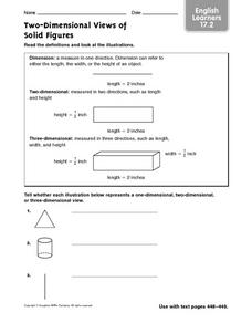 Two-Dimensional Views of Solid Figures ELL 17.2 Worksheet