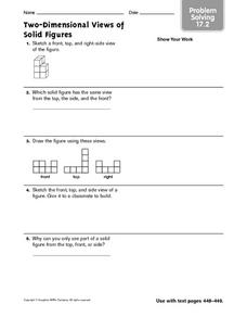 Two-Dimensional Views of Solid Figures Problem Solving 17.2 Worksheet