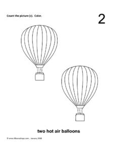 Two Hot Air Balloons Worksheet