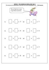 Two Numbers to Make a Total Worksheet