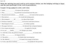 Two Part Verbs- Helping Verbs with Past Participle Worksheet