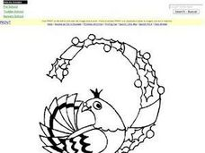 Two Turtle Doves :  Christmas Coloring Worksheet