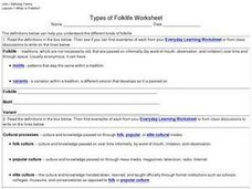 Types of Folklife Worksheet Worksheet