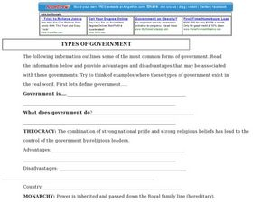 types of government 3rd grade worksheet lesson planet. Black Bedroom Furniture Sets. Home Design Ideas